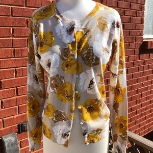 Gold, tan and white floral cardigan